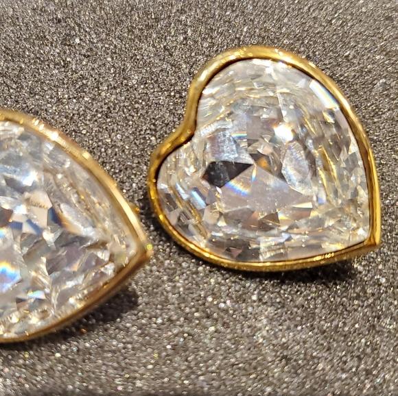 Vintage Heart Shaped Zirconia Stainless Earrings